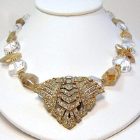 Deco Clip Necklace. Gold Tone . Downton Abbey Inspired