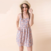 Strappy Backless Floral Print Shirtwaist Mini Skater Dress