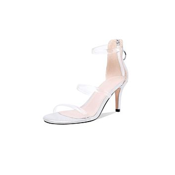 Women's High Heel Transparent Back Zipper Stiletto Heel Sandals