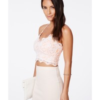 Missguided - Beatie Nude Cross Back Strappy Lace Bralet