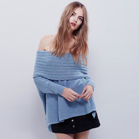Women's Fashion Sexy Strapless Sweater Needles Tops Hot Sale Jacket [6281584068]
