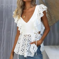 Elegant Lace Embroidery Ruffle Women Blouse Shirts Casual Hollow Out Shirt