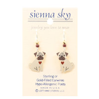 """Sienna Sky """"Pugsly"""" Pug Puppy With Red Heart Earrings"""