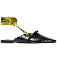 Off-White Black For Walking 10 Flat Leather Slippers - Farfetch