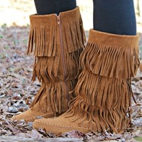 Smoke Signals Fringe Boots in Camel