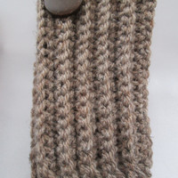 Ribbed Boot Cuffs with wood button, boot toppers, leg warmers. For Both Children and adults.