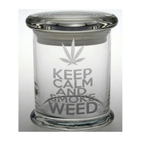 Keep Calm Smoke Weed Etched Glass Stash Jar Cannabis Air Tight Container LOVE Medical Marijuana Cross Bong Ganja Hemp Hippy MMJ California