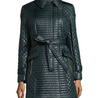 Quilted Asymmetric-Zip Belted Coat, Bottle Green