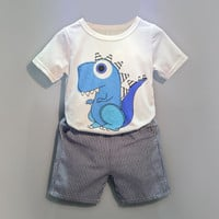 New Toddler Boys Clothing - Cartoon print - T-shirt+Short Pants