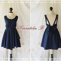 A Party - V Shape Style - Prom Party Cocktail Bridesmaid Dinner Wedding Night Dress Dark Navy Color Glamorous Cocktail Dress