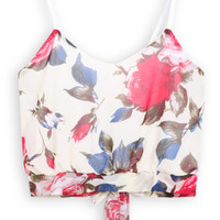 Spaghetti Strap Floral Knotted White Vest