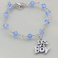 Its A Boy Blue Crystal Bracelet - Blue Bracelet for Gender Reveal - Sterling Silver - Charm Bracelet - New Mom Gift -Baby Shower Gift