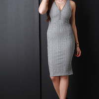 Ribbed Knit Zipper V-Neck Midi Dress