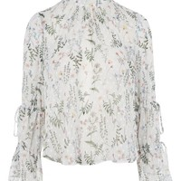 Dobby Spot Floral Blouse - Tops - Clothing