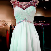 Homecoming Dresses Cap Sleeves Simple Mint Green High Low Homecoming Dresses