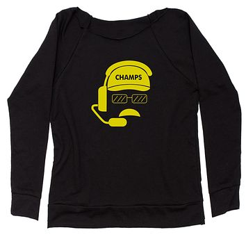 Head Coach Champs Slouchy Off Shoulder Oversized Sweatshirt