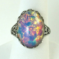 Pink Opal Ring Vintage Glass Stone Silver by NicolettesJewelry
