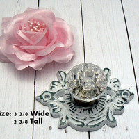 Cabinet Drawer Pull Medallion Flower Fleur Shabby Style Chic Classic WHITE Cast Iron Backplate acrylic Knob French Paris Do It Youself DIY