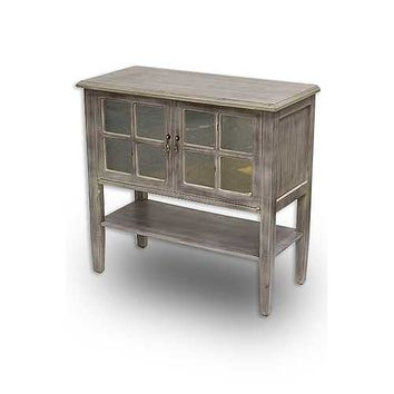"""32"""" X 14"""" X 30"""" Gray Wash MDF  Wood  Mirrored Glass Console Cabinet with a Shelf Doors and Paned Inserts"""