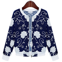 Blue Floral Print Cuff Sleeve Knitted Cardigan