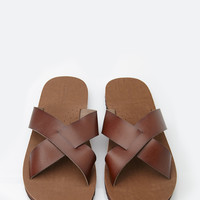 Faux Leather Crisscross Slides