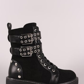 Wild Diva Lounge Grommet Buckled Lace-Up Combat Ankle Boots