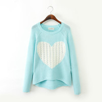 Block Cutout Heart Pattern Knitted Sweater