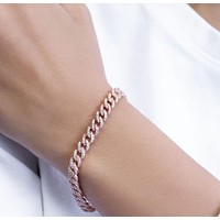 Curb Chain with Cubic Zircon Bracelet 925 Sterling Silver