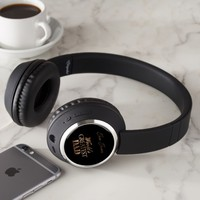World's Greatest Dad Elegant Black and Gold Text Headphones
