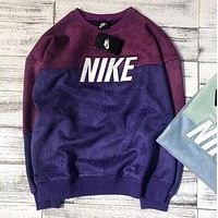 NIKE Autumn Winter Trending Women Men Stylish Stitching Color Suede Long Sleeve Round Collar Sweater Top Sweatshirt Purple