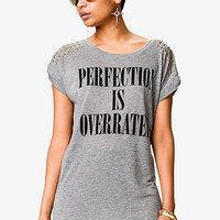 FOREVER 21 Perfection Is Overrated Tee Heather Grey/Black Large