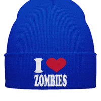 I LOVE ZOMBIES EMBROIDERY HAT - Beanie Cuffed Knit Cap
