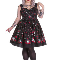 Hell Bunny Plus Size Rockabilly Goth Skull and Red Roses Beautiful Soul Swing Dress