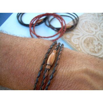 Thin Triple Wrap Braided Leather Bracelet with Copper Toned Brass Magnetic Clasp
