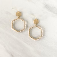 Creative Muse Hexagon Pearl Earrings