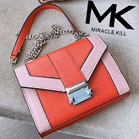 Mk's new Michael Kors. Flip bag shoulder bag napa 2020 early spring color matching streamline shoulder bag  Orange