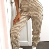 Hot style printed lace-up with compression printed slacks