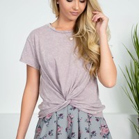 Lilac Cotton Knot Top