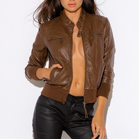 SECOND NATURE ZIPPER TRIM FAUX LEATHER RIBBED BOMBER MOTO JACKET