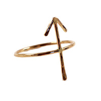 """ON SALE Hammered 14k Yellow, Rose Gold-fill or Sterling SIlver """"Victory"""" Arrow Rune Forefinger Knuckle or Pinky Ring"""