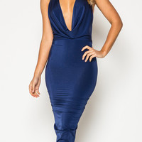 Blue Halter Cowl Neck Ruched Backless Bodycon Dress