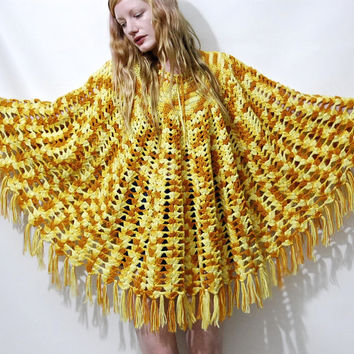 70s Vintage CROCHET PONCHO Yellow Orange Wool Knitwear Knit Tassel Fringe Shawl Cardigan Coat Cape Bohemian Hippie Boho 1970s vtg