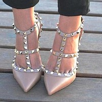 Valentino Classic Popular Women Pointed Rivet Sandals Shoes High Heels Pink