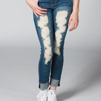 Celebrity Pink Destructed Womens Skinny Jeans Medium Wash  In Sizes