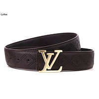 Louis Vuitton LV tide brand retro classic letter buckle men and women wild belt Coffee