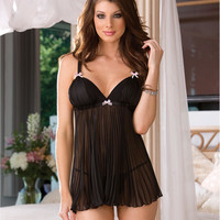 Dreamgirl Pleated Chiffon Babydoll Set Sleepwear 6218 at BareNecessities.com