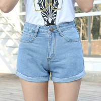 [VIOLA] High Waist Denim Shorts Plus Size XS-4XL Femme Feminino Short Jeans for Women 2016 Hot Pants short taille haute short shorts