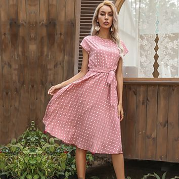 Dress Women Polka Dots Dresses For Women Elegant Dress Ladies Beach Holiday Dress Green Sexy Party Robe