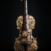 Skull Violin, carved skull violin, memento mori, dayofthedead, day of the dead, carved vioin, skull carving