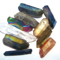 Natural rock crystal points druzy type titanium and mystic coated mixed sampler 10 piece lot